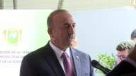 Turkish Foreign Minister Mevlut Cavusoglu attends the opening ceremony of 'Education Center for Women' renewed by Turkish Cooperation and...