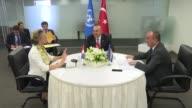 Turkish Foreign Minister Mevlut Cavusoglu Bosnian Foreign Minister Igor Crnadak and Croatian Foreign Minister Marija Pejcinovic Buric hold a meeting...