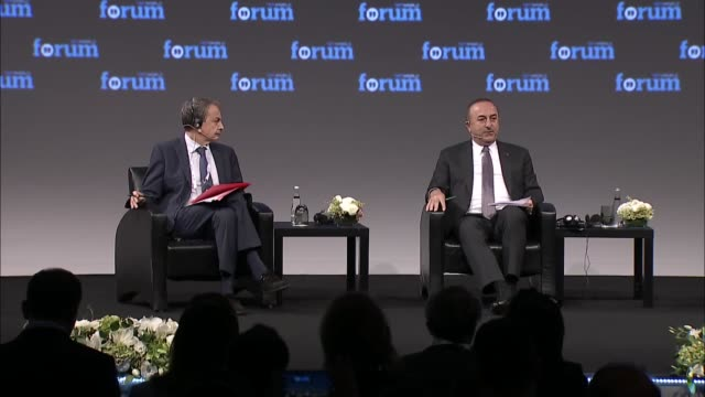 Turkish Foreign Minister Mevlut Cavusoglu delivers a speech during the TRT World Forum in Istanbul Turkey on October 18 2017