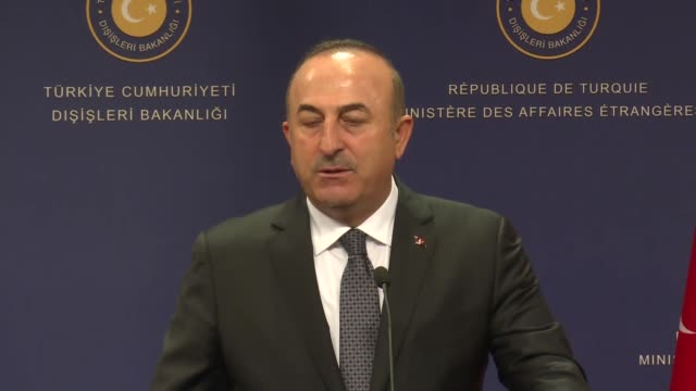 Turkish Foreign Minister Mevlut Cavusoglu holds a joint press conference with his Portuguese counterpart Santos Silva in Ankara Turkey on October 18...
