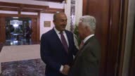 Turkish Foreign Minister Mevlut Cavusoglu hosts a dinner in honour of British Minister of State for Europe and Americas Alan Duncan in Ankara Turkey...
