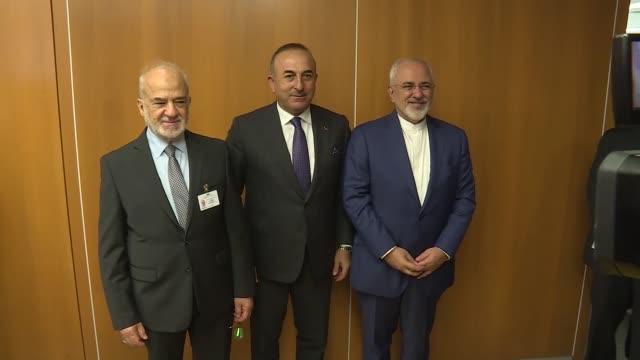 Turkish Foreign Minister Mevlut Cavusoglu Iraqi Foreign Minister Ibrahim alJaafari and Iranian Foreign Minister Mohammad Javad Zarif hold a meeting...