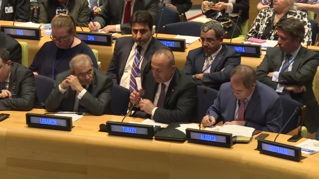 Turkish Foreign Minister Mevlut Cavusoglu makes a speech during the high level meeting on Syria in New York United States on September 21 2017
