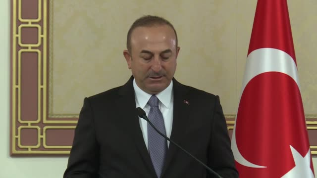 Turkish Foreign Minister Mevlut Cavusoglu meets and holds a press conference with Colombian Foreign Minister Maria Angela Holguin at Ceylan Hotel in...