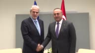 Turkish Foreign Minister Mevlut Cavusoglu meets European Commissioner for Humanitarian Aid and Crisis Management Christos Stylianides in New York...