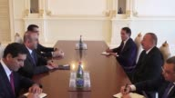 Turkish Foreign Minister Mevlut Cavusoglu meets with Azerbaijani President Ilham Aliyev in Baku Azerbaijan on September 05 2017 Turkey's Foreign...
