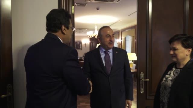 Turkish Foreign Minister Mevlut Cavusoglu meets with Director General of the Arakan Rohingya Union Wakar Uddin in Ankara Turkey on November 24 2017