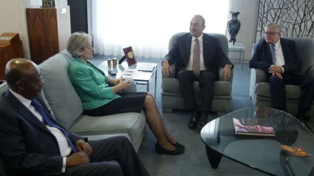 Turkish Foreign Minister Mevlut Cavusoglu meets with DirectorGeneral of UNESCO Irina Bokova during his official visit in Paris France on October 05...