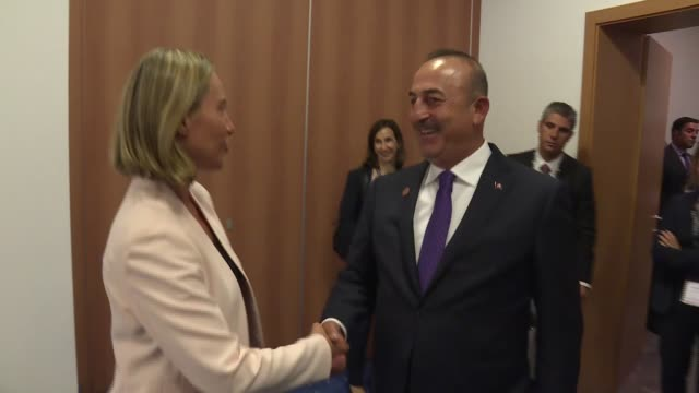 Turkish Foreign Minister Mevlut Cavusoglu meets with European Union High Representative Federica Mogherini in Bled Slovenia on September 4 2017