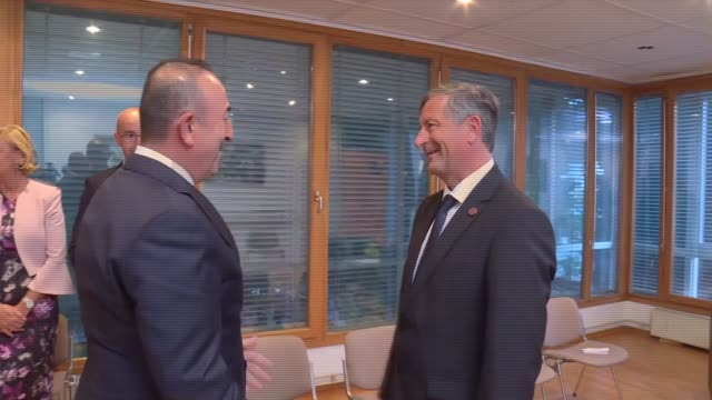 Turkish Foreign Minister Mevlut Cavusoglu meets with Foreign Affairs Minister Slovenia Karl Erjavec after attending the Bled Strategic Forum in Bled...