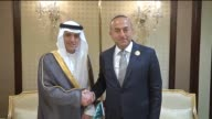 Turkish Foreign Minister Mevlut Cavusoglu meets with Foreign Minister of Saudi Arabia Adel bin Ahmed AlJubeir in Kuwait city Kuwait on May 27 2015...