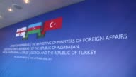 Turkish Foreign Minister Mevlut Cavusoglu meets with Foreign Minister of Azerbaijan Elmar Memmedyarov and Foreign Minister of Georgia Mikheil...