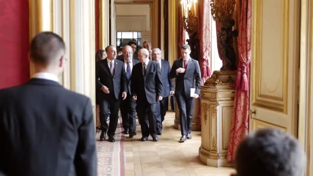 Turkish Foreign Minister Mevlut Cavusoglu meets with French Minister for Europe and Foreign Affairs JeanYves Le Drian in Paris France on October 5...