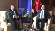 Turkish Foreign Minister Mevlut Cavusoglu meets with his Finnish counterpart Timo Soini after the 9th Ambassadors Conference in Ankara Turkey on...