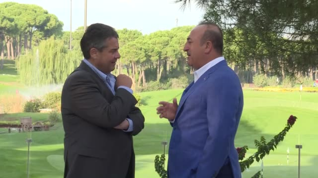 Turkish Foreign Minister Mevlut Cavusoglu meets with his German counterpart Sigmar Gabriel in Antalya southern Turkey on November 04 2017