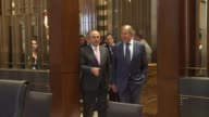 Turkish Foreign Minister Mevlut Cavusoglu meets with his Russian counterpart Sergei Lavrov on the sidelines of the 50th ASEAN Foreign Ministers'...