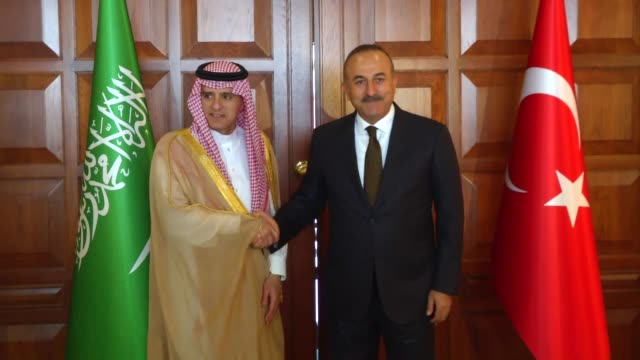 Turkish Foreign Minister Mevlut Cavusoglu meets with his Saudi Arabian conterpart Adel bin Ahmed AlJubeir in capital Ankara Turkey on September 08...