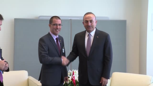 Turkish Foreign Minister Mevlut Cavusoglu meets with his Venezuelan counterpart Jorge Arreaza in New York USA on September 22 2017
