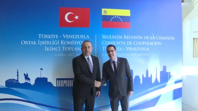 Turkish Foreign Minister Mevlut Cavusoglu meets with his Venezuelan counterpart Jorge Arreaza in Ankara Turkey on October 06 2017