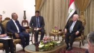 Turkish Foreign Minister Mevlut Cavusoglu meets with Iraqi President Fuad Masum at alSalam Palace in Baghdad Iraq on August 23 2017