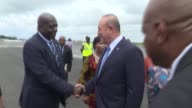Turkish Foreign Minister Mevlut Cavusoglu meets with Liberian Foreign Minister Marjon Kamara at Monrovia Roberts International Airport in Harbel...