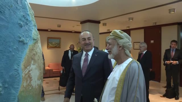 Turkish Foreign Minister Mevlut Cavusoglu meets with Omani Minister Responsible for Foreign Affairs Yusuf bin Alawi bin Abdullah in Muscat Oman on...