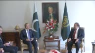 Turkish Foreign Minister Mevlut Cavusoglu meets with Pakistani Prime Minister Nawaz Sherif prior to 'The 5th Heart of AsiaIstanbul Process...