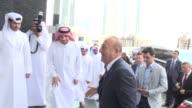 Turkish Foreign Minister Mevlut Cavusoglu meets with Qatari Foreign Minister Sheikh Mohammed bin Abdulrahman bin Jassim AlThani in Doha Qatar on...