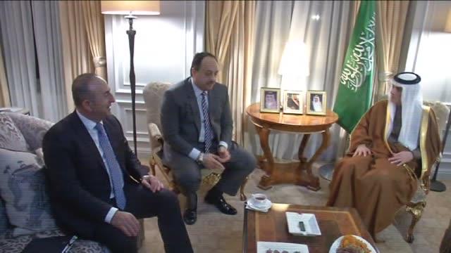 Turkish Foreign Minister Mevlut Cavusoglu meets with Saudi Arabian Foreign Minister Adel bin Ahmed AlJubeir and Foreign Minister of Qatar Khalid bin...