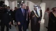 Turkish Foreign Minister Mevlut Cavusoglu meets with Saudi Arabian Foreign Minister Adel bin Ahmed AlJubeir in Riyadh Saudi Arabia on December 29 2015