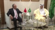 Turkish Foreign Minister Mevlut Cavusoglu meets with Saudi Foreign Minister Adel alJubeir in Riyadh Saudi Arabia on April 24 2016