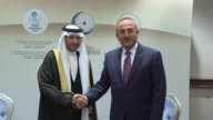 Turkish Foreign Minister Mevlut Cavusoglu meets with Secretary General of Organization of Islamic Cooperation Yousef bin Ahmad AlOthaimeen ahead of...