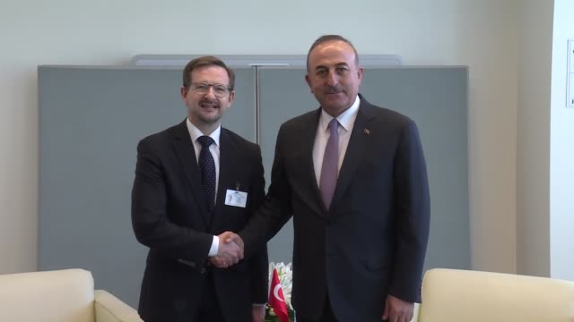 Turkish Foreign Minister Mevlut Cavusoglu meets with SecretaryGeneral of the Organization for Security and CoOperation in Europe Thomas Greminger in...