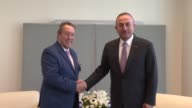 Turkish Foreign Minister Mevlut Cavusoglu meets with SecretaryGeneral of the Central American Integration System and Former President of Guatemala...