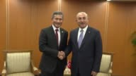 Turkish Foreign Minister Mevlut Cavusoglu meets with Singapore's Minister for Foreign Affairs Vivian Balakrishnan within the 50th Association of...