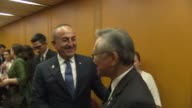 Turkish Foreign Minister Mevlut Cavusoglu meets with Thai Foreign Minister Don Pramudwinai within the 50th Association of Southeast Asian Nations...