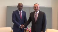 Turkish Foreign Minister Mevlut Cavusoglu meets with Togolese Minister of Foreign Affairs Cooperation and African Integration Robert Dussey in New...