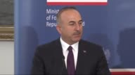 Turkish Foreign Minister Mevlut Cavusoglu Polish Minister of Foreign Affairs Witold Waszczykowski and Romanian Foreign Minister Lazar Comanescu hold...