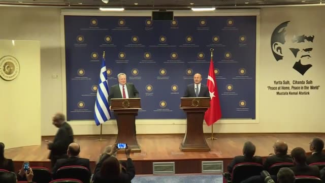 Turkish Foreign Minister Mevlut Cavusoglu speaks at a joint press conference with his Greek counterpart Nikos Kotzias following their meeting in...