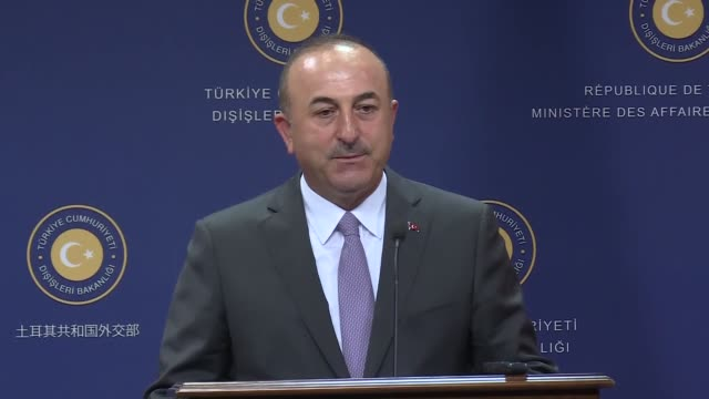 Turkish Foreign Minister Mevlut Cavusoglu speaks at joint press conference with his Kosovo counterpart Behgjet Pacolli following their meeting in...