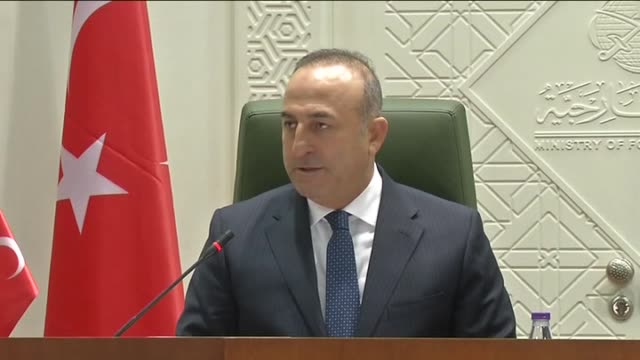Turkish Foreign Minister Mevlut Cavusoglu speaks during a joint press conference with Saudi Foreign Minister Adel bin Ahmed AlJubeir in Riyadh Saudi...