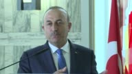 Turkish Foreign Minister Mevlut Cavusoglu speaks during a joint press conference with his Italian counterpart Angelino Alfano following their meeting...