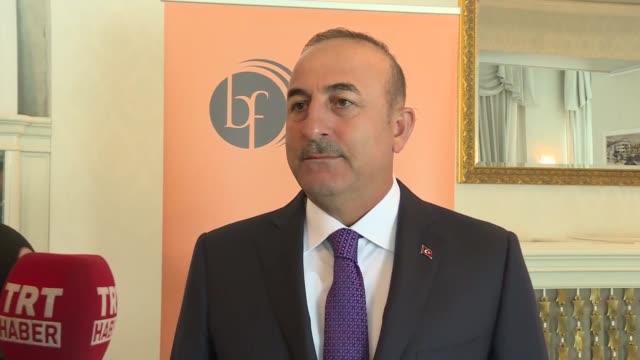 Turkish Foreign Minister Mevlut Cavusoglu speaks to the media during the 12th Bled Strategic Forum on September 04 2017 in Slovenia's northwestern...