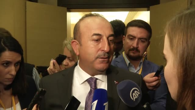 Turkish Foreign Minister Mevlut Cavusoglu speaks to the media on November 13 2017 in the coastal city of Sochi Russia