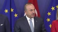 Turkish Foreign Minister Mevlut Cavusoglu Turkish EU Affairs Minister Omer Celik and EU High Representative for Foreign Affairs and Security Policy...