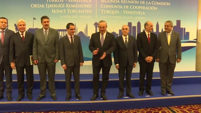 Turkish Foreign Minister Mevlut Cavusoglu Turkish Food Agriculture and Livestock Minister Esref Fakibaba and Venezuelan delegation attend the joint...