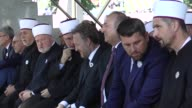 Turkish Foreign Minister Mevlut Cavusoglu Vice chairman of Justice and Development Party Mehdi Eker and Mayor of Istanbul's Eyup municipality Remzi...