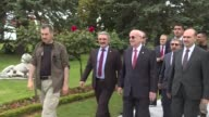 Turkish Foreign Minister Mevlut Cavusoglu welcomes leaders at Dolmabahce Palace prior to a luncheon within the scope of 25th Anniversary Summit of...