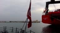 Turkish frigate TCG Gemlik enters Djibouti port on September 12 2015 in Djibouti capital of Djibouti Turkish Frigate TCG Gemlik which flagship for...