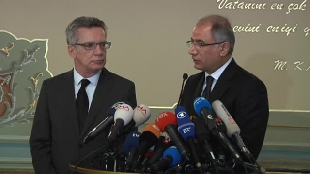 Turkish Interior Minister Efkan Ala and German Interior Minister Thomas de Maiziere hold a press conference following their meeting in Istanbul...